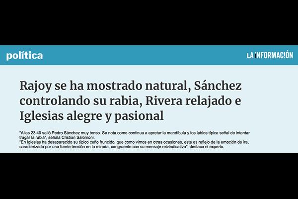 Rajoy se ha mostrado natural, Sánchez controlando su rabia, Rivera relajado e Iglesias alegre. La informacion.com
